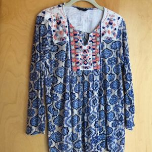 Lucky Brand blue floral embroidered tunic size L